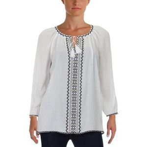 NYDJ Womens White Pleated Peasant Top Blouse $108